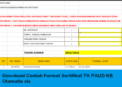 Download Contoh Format Sertifikat Tk Paud Kb Otomatis Xls Jika File