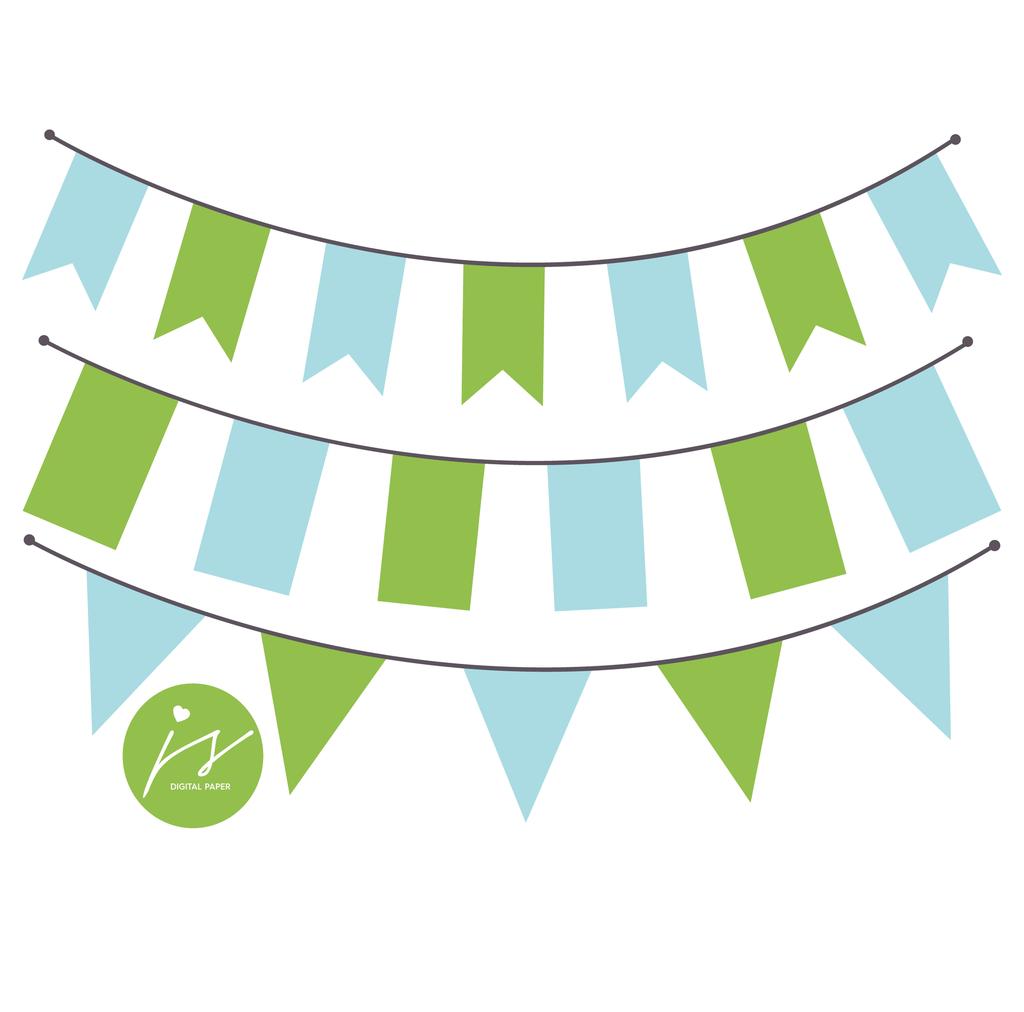 Green And Baby Blue Bunting Banner Flag Clipart Bu 21 Hiasan