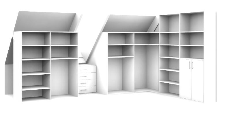 3d tekening inloopkast op maat in schuine ruimte for 3d slaapkamer maken