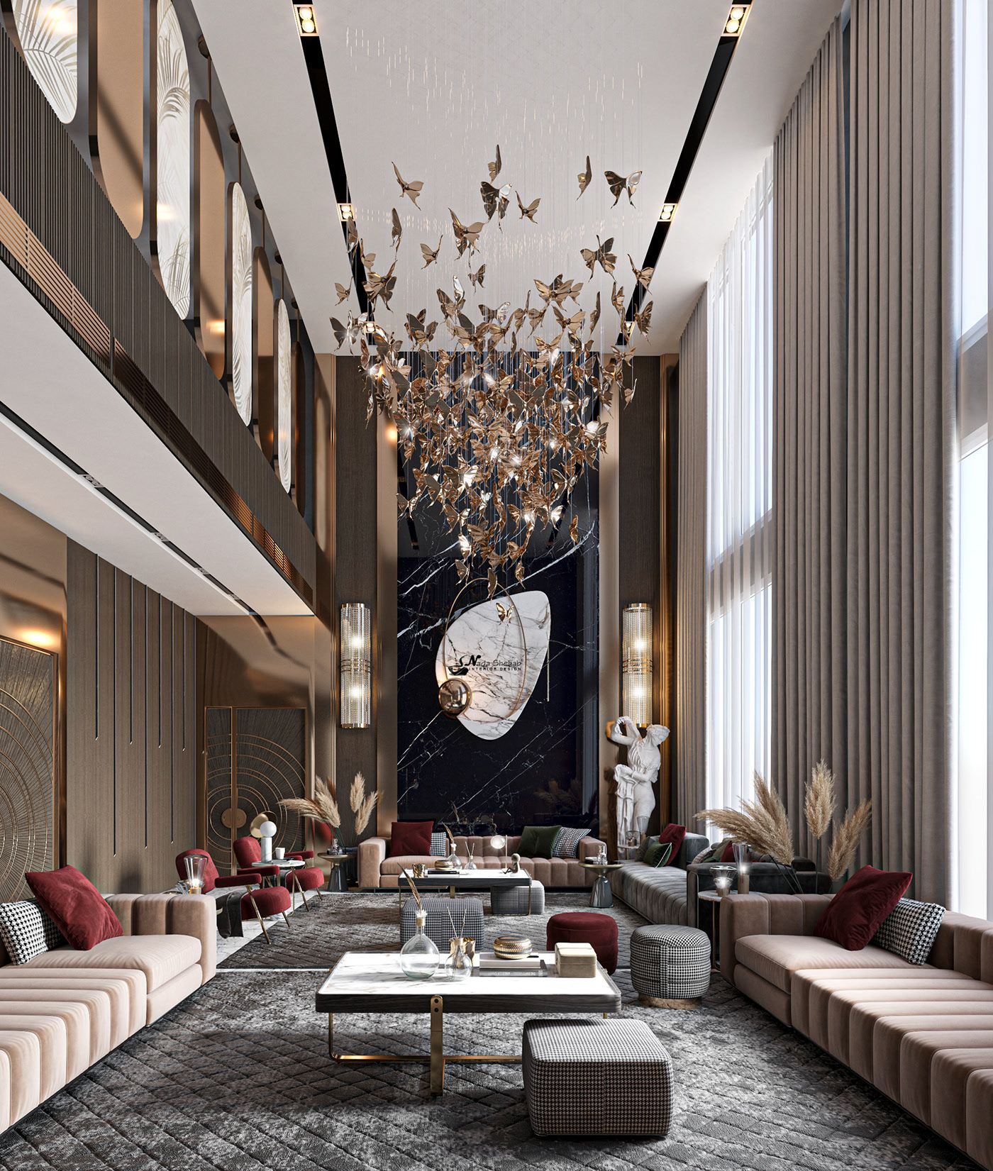 Luxury Double Height On Behance Luxury Living Room Design Luxury Apartments Interior High Ceiling Living Room