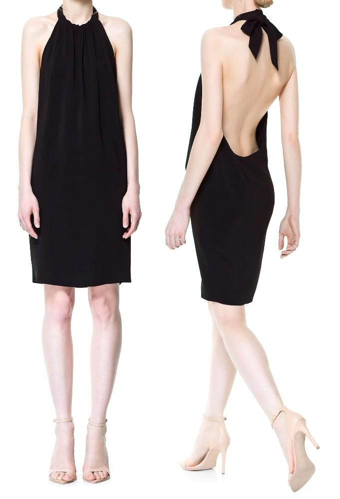 5a0fd192da zara open back low cut back dress with nude zara leather barely there  sandals