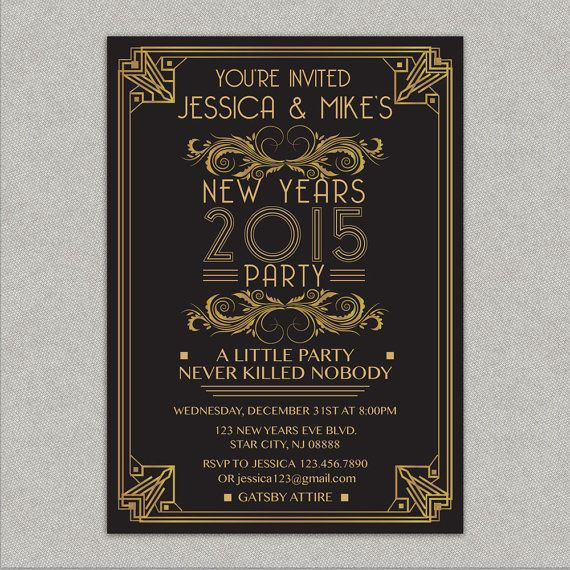 Great Gatsby New Years Eve Party Invitation Black And Gold Etsy New Years Eve Invitations New Years Eve Party Nye Party