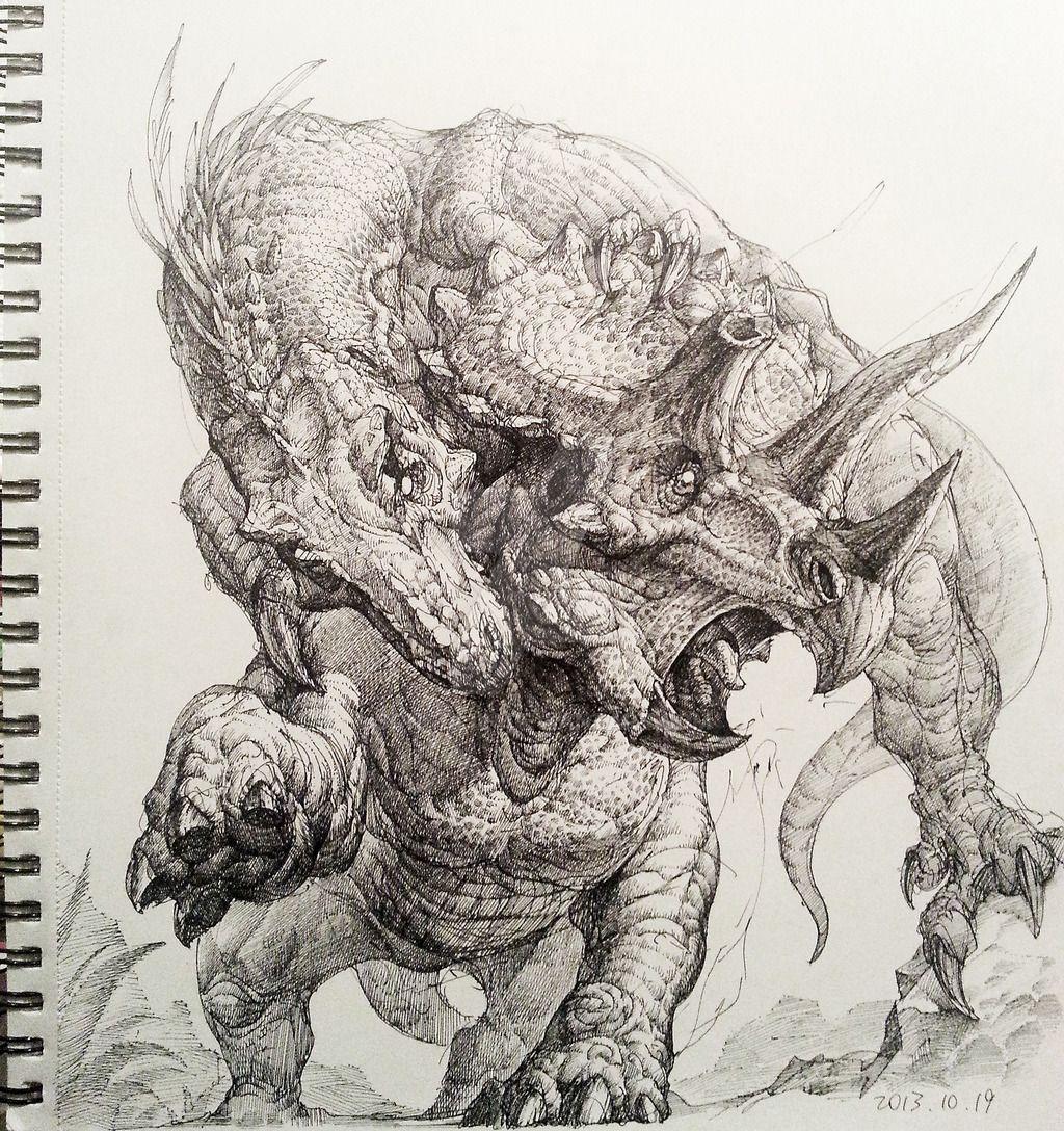 tyrannosaurus rex triceratops hunt | dinosaur illustration