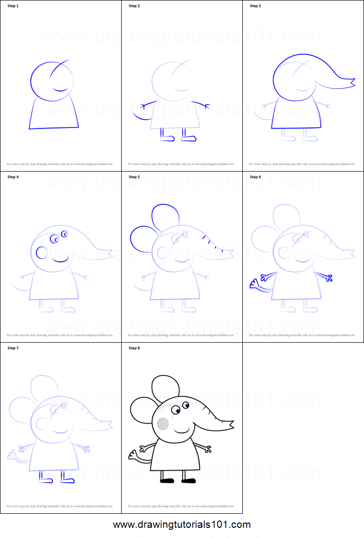 How To Draw Emily Elephant From Peppa Pig Printable Drawing Sheet By