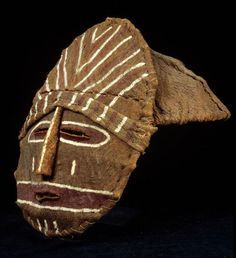 Africa | Mukanda initiation ritual mask from the Chokwe people of Angola and Zambia | Wood, covered in bark, then painted with clay based pigments ca. 1972 or earlier