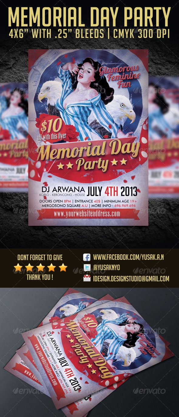 memorial day party flyer template 4th 4x6 america ancient