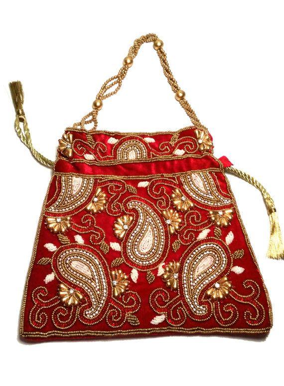 Bollywood Indian Stani Clutch Handbag Batwa Wedding Bag Handmade