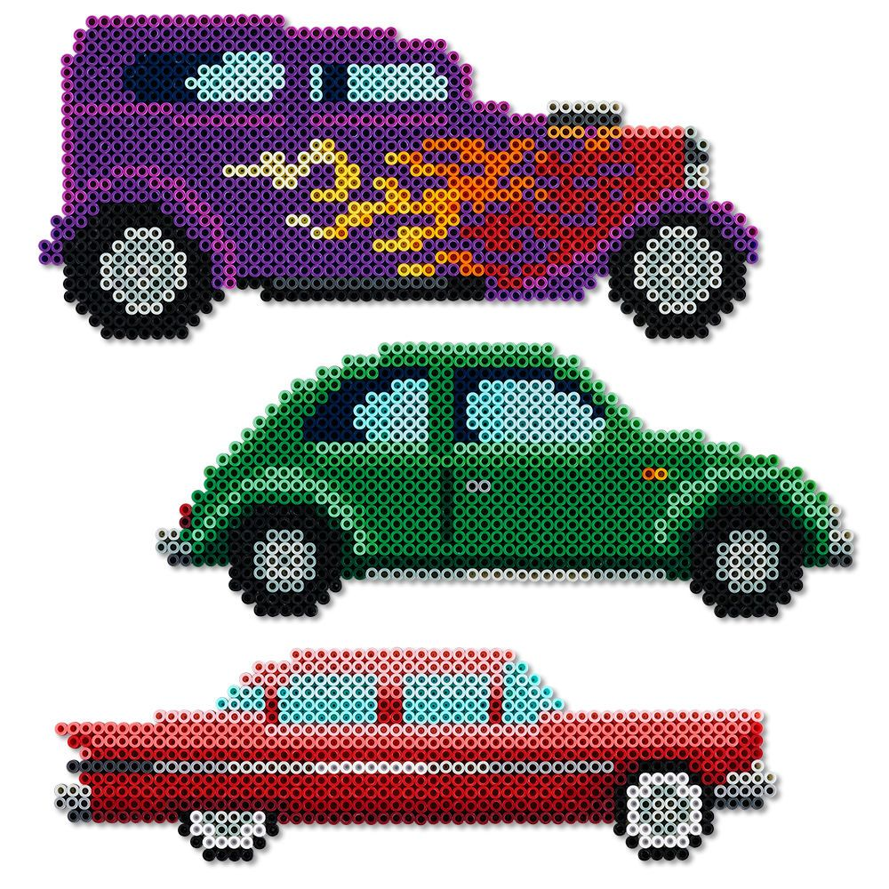 These Perler bead renditions of three great classic cars—a hotrod, a Beetle, a…