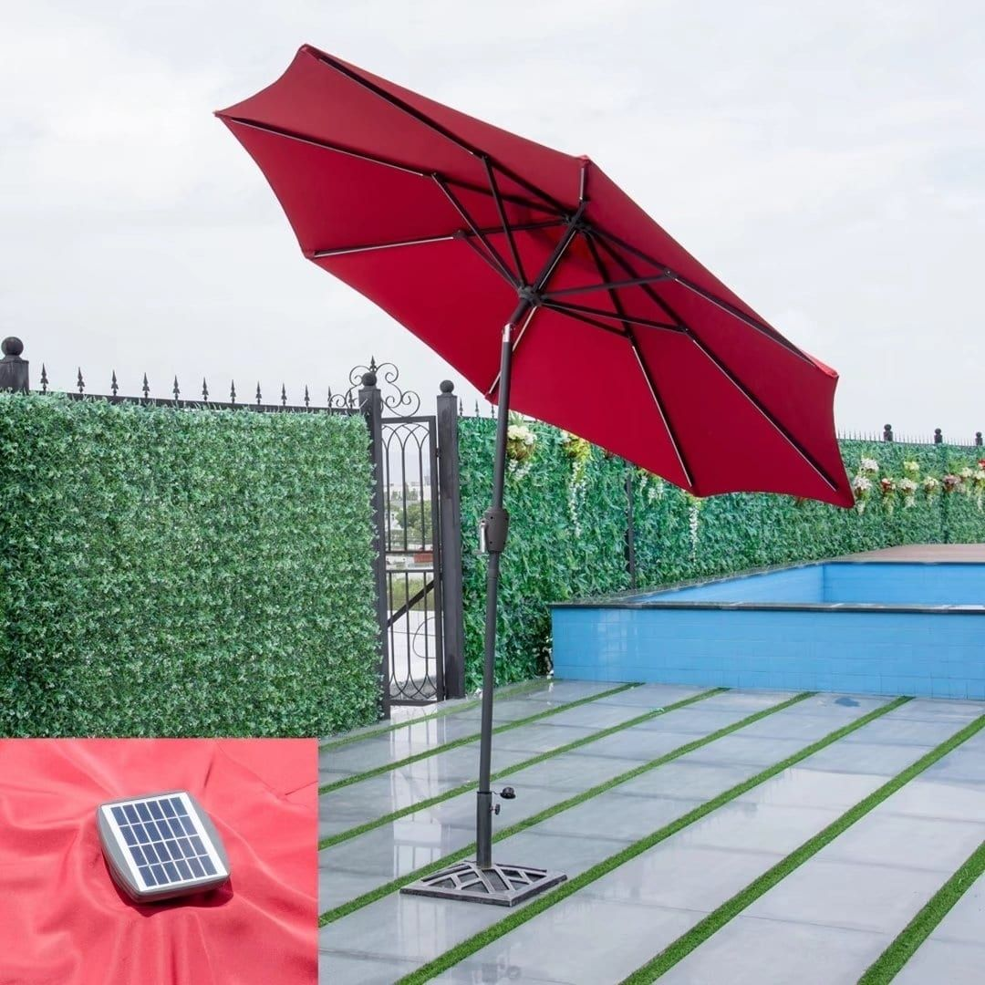 9 Ft Patio Solar Umbrella Led Light Tilt Deck Waterproof Garden Market Red