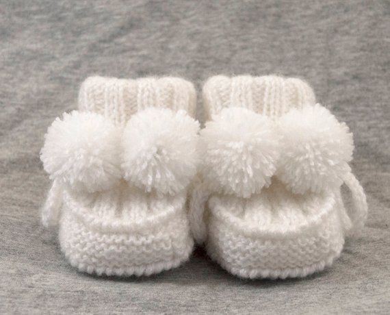 25f6ea34a315e Hand Knitted Baby Booties with Pom Poms - Snow White, 3 - 6 months ...