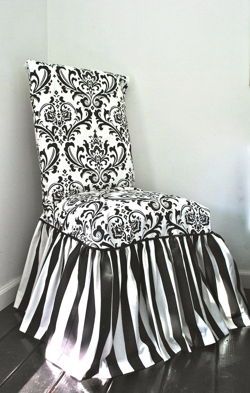 Damask and Stripe Chair Slipcover | Chair slipcovers, Skirts and ...