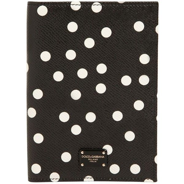 Dolce & Gabbana Women Polka Dot Leather Passport Holder (£250) ❤ liked on Polyvore featuring bags, wallets, black, leather wallets, dolce gabbana bags, real leather bags, genuine leather bags and 100 leather wallet