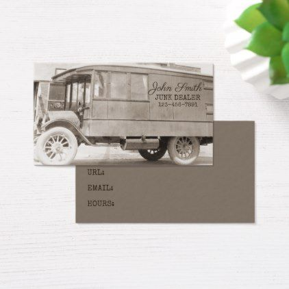 Antique Truck Sepia Junk Dealer Background Business Card