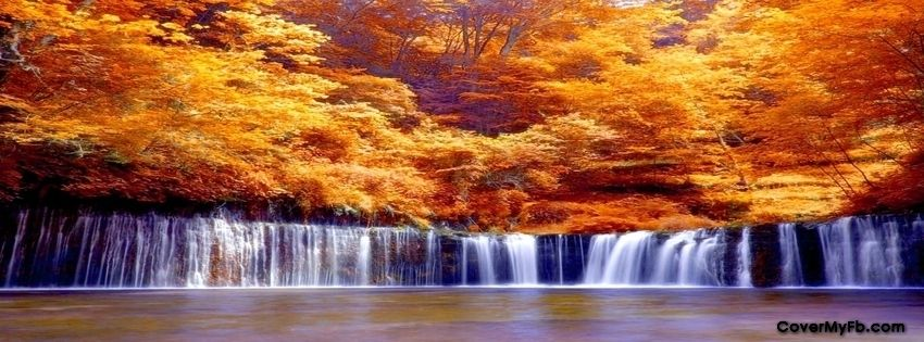 Free Fall Facebook Covers: Autumn Waterfalls Facebook Covers