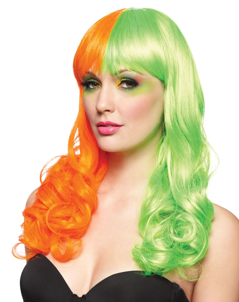 Rave Orange And Green Wig Spirit Halloween Green Wig Halloween Hair Halloween Costume Store