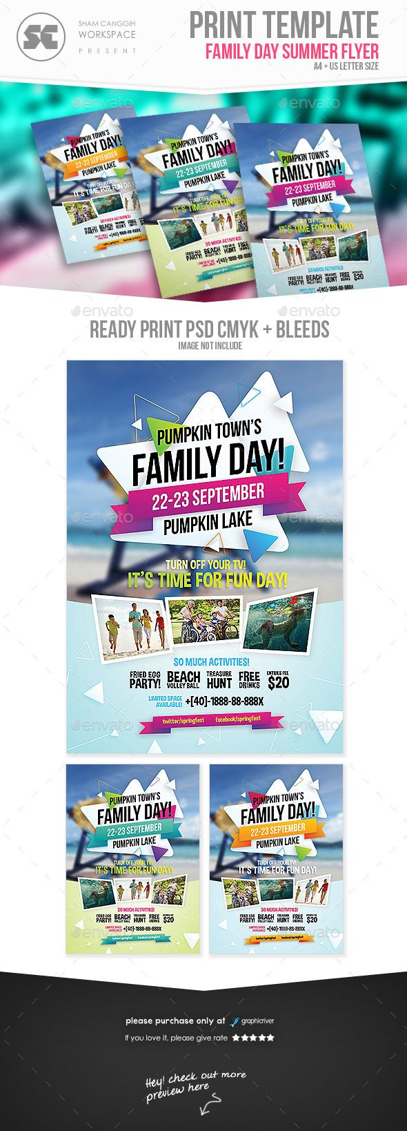 family day flyers flyer template template and font logo