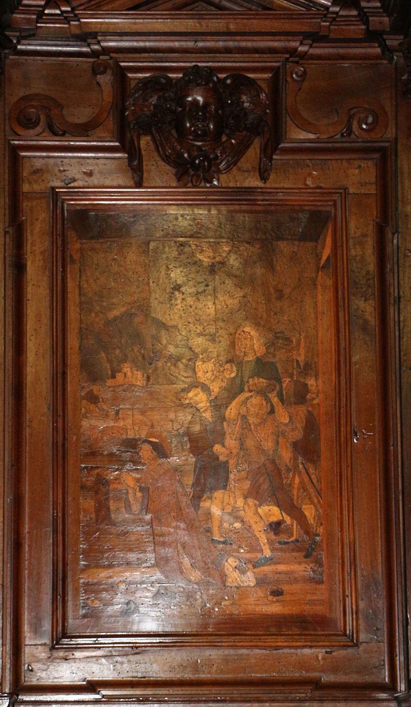 Fra Damiano Zambelli - martirio di Santo Stefano (cartone di Bernardo Zenale) - tarsie  del coro - 1510-20 circa - Chiesa dei Santi Bartolomeo e Stefano - Bergamo (Italia)