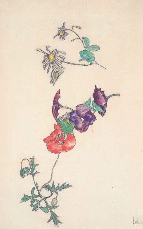 Margeriten Winding Und Mohnblume Egon Schiele 1918 Mohnblume Margeriten Zeichenvorlagen