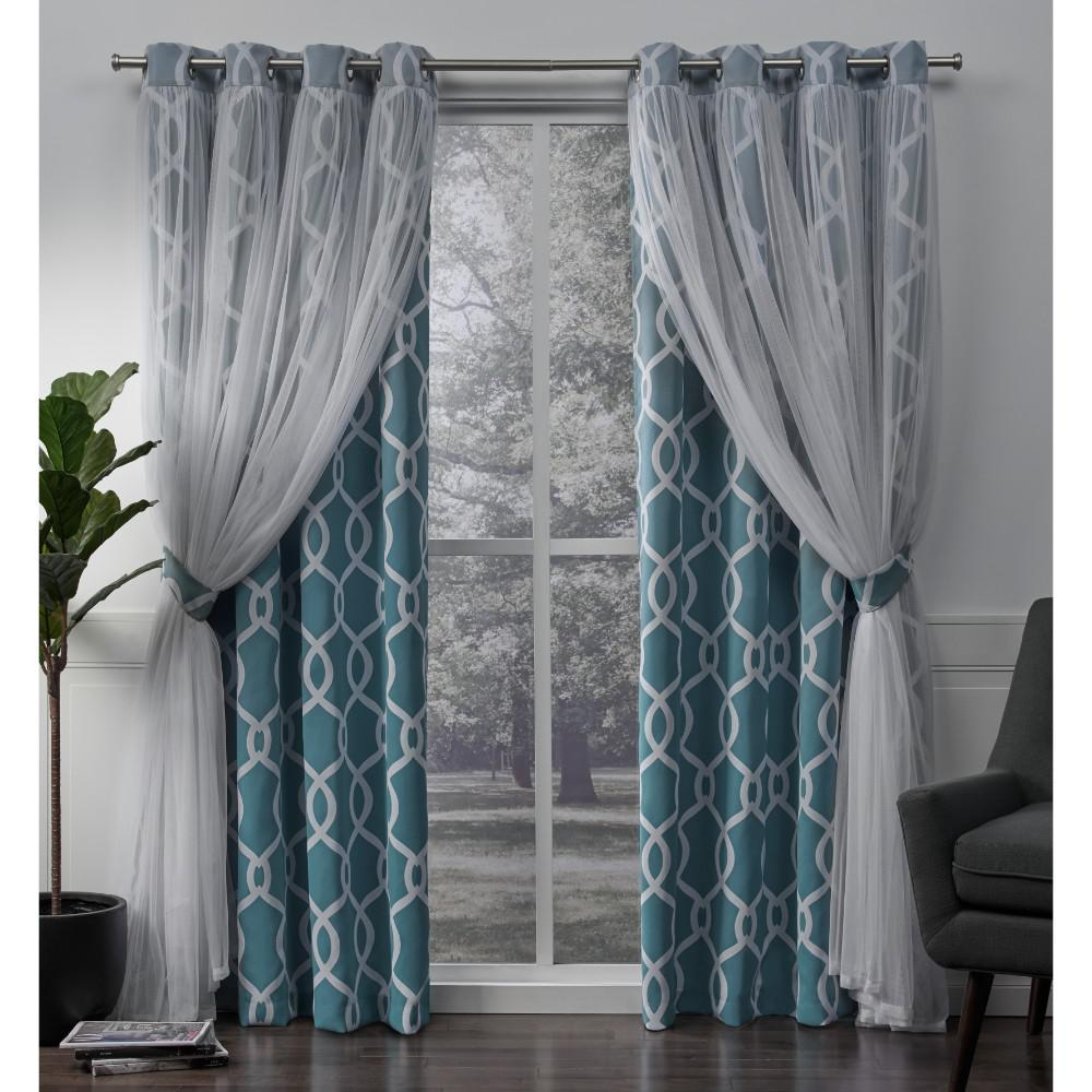 Amalgamated Textiles Carmela Turquoise Layered Geometric Blackout And Sheer Grommet Top Window Curtain Home Curtains Grommet Top Curtains Curtains