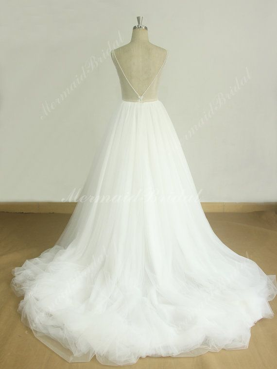 Open back deep V neckline off white a line tulle lace wedding dress ...