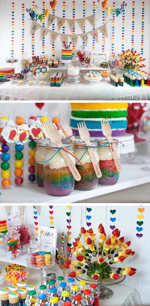 Idea Para Fiesta Tematica Arcoiris Partidos De Arco Iris Fiesta De Candy Land Fiesta Con Tema De Unicornio Arcoiris