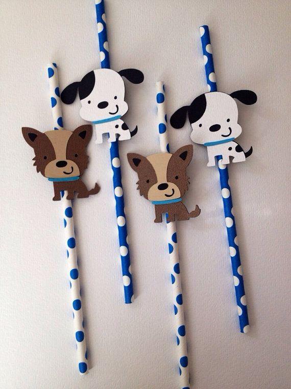 12 Puppy Themed Party Straws by MiaSophias on Etsy, $16.99