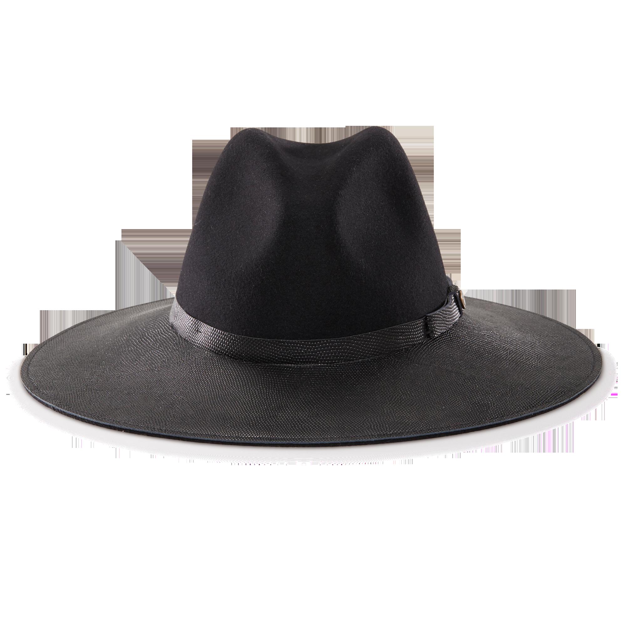b5eef09314c Arctic Blackfelt Wide Brim Fedora hat front view