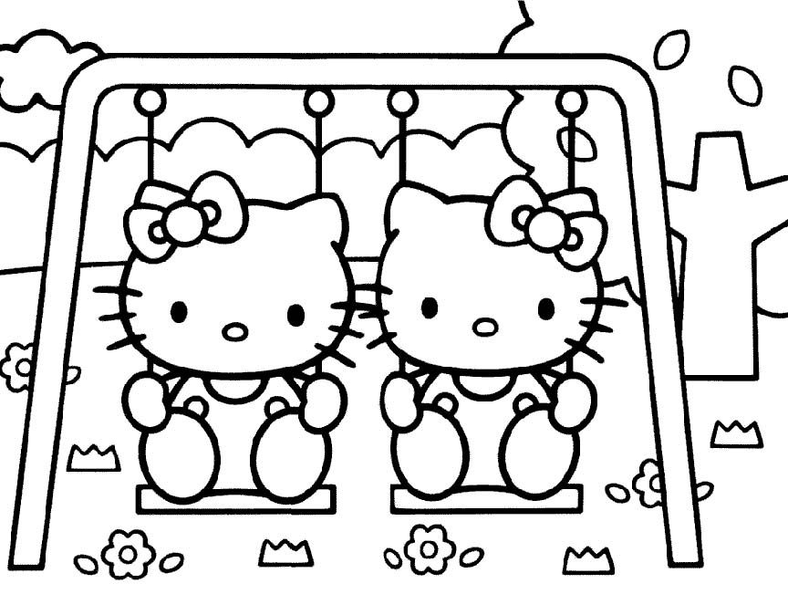 I Have Download Two Hello Kitty Play Swing Coloring Page Hello