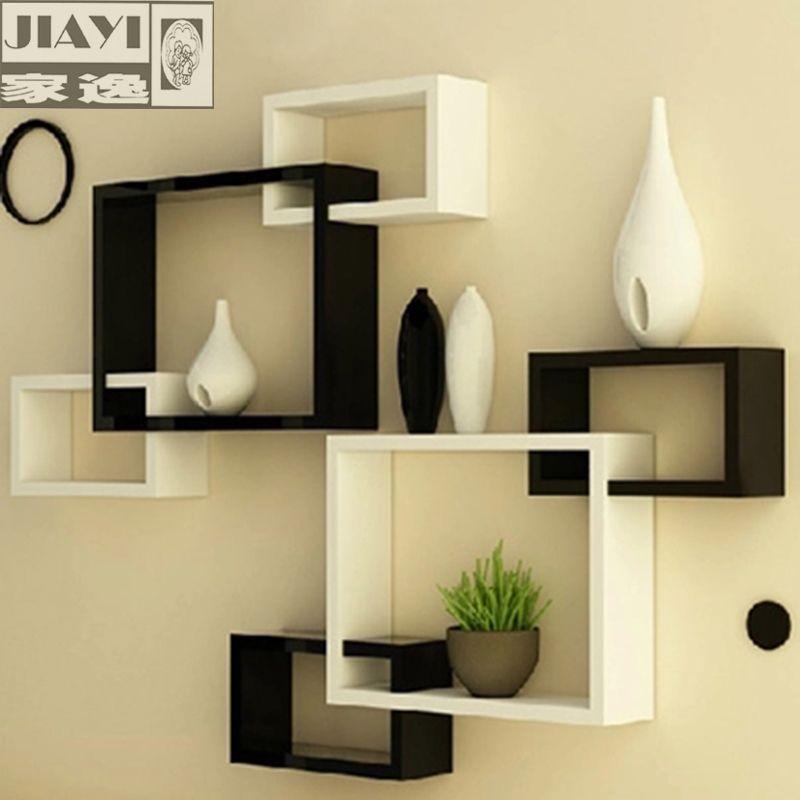 رخيصة يي الحديثة جدار رفوف رفوف ثلاثية غرفة المعيشة الإبداعية الجدار الديكور خلفية فاصل يبيع الجودة لوحات قطب مباش Wall Shelves Design Room Decor Shelf Design