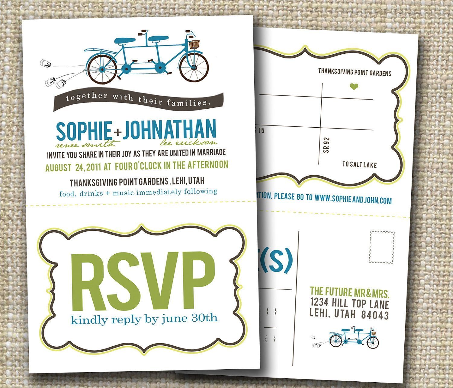 wedding invitations or party invitation with tearoff by westwillow ...
