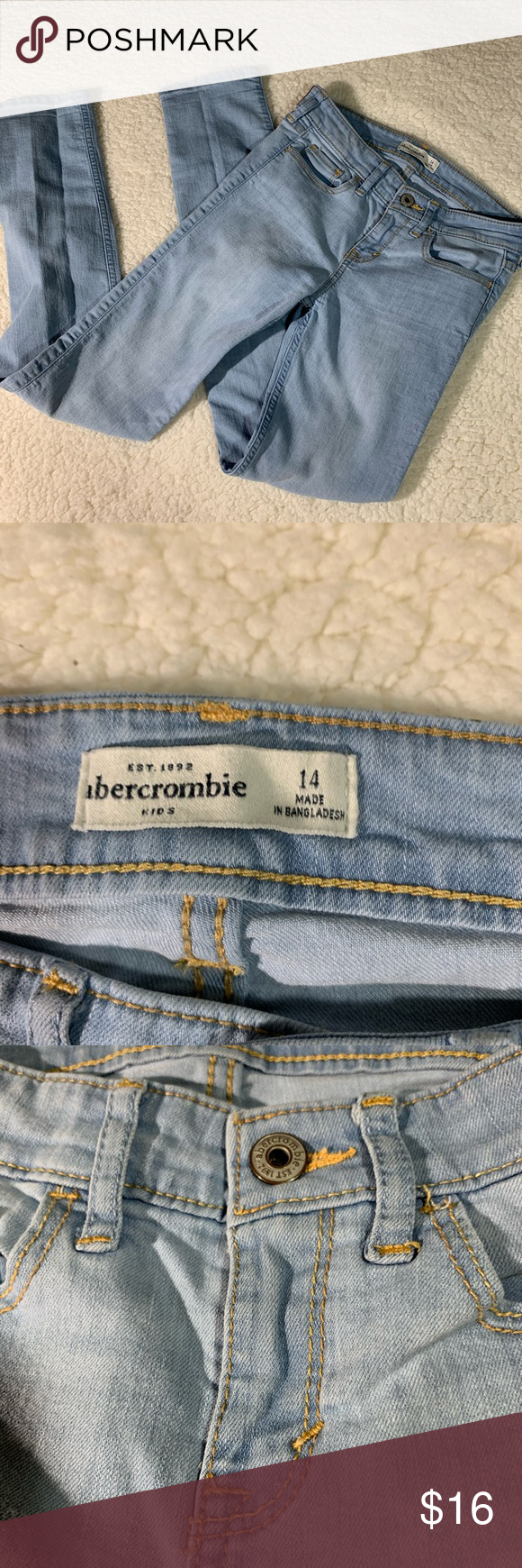 Abercrombie jeans 14 T1192 These are so soft ad cute . Light blue skinny jean no holes rips no stains near new great shape  Length 36in Inseam 28.5 in Waist 14 in Ankle 5 1/4  Thank you for shopping my closet 👡👚👗❤️❤️👢🧳🧢🥾 (all measurements  taken laying flat)and are approximately  All items are from a smoke free 🔥and pet free 🐶🐱home have a great week. Please dm me for any questions or pics needed. Abercrombie & Fitch Jeans Skinny