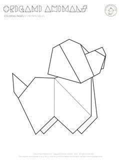 Origami Puppy Coloring Page