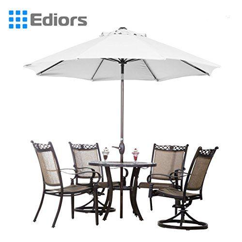 Ediors Deluxe Ivory 9 Ft Cantilever Hanging Patio Umbrella Freestanding  Outdoor Parasol Adjustable Market Umbrella Black
