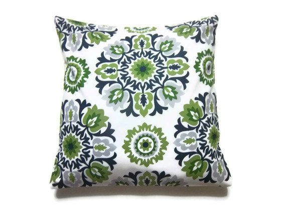 Decorative Pillow Cover Olive Green Navy Blue Chartreuse White