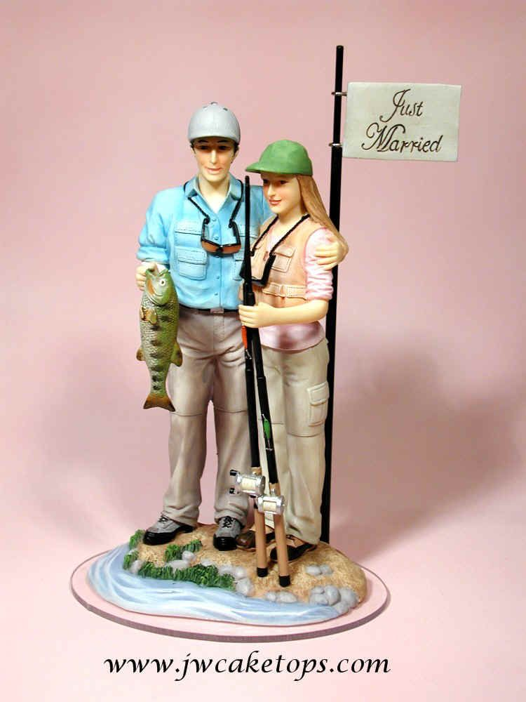 Funny romantic fishing wedding cake toppers Mariage Wedding