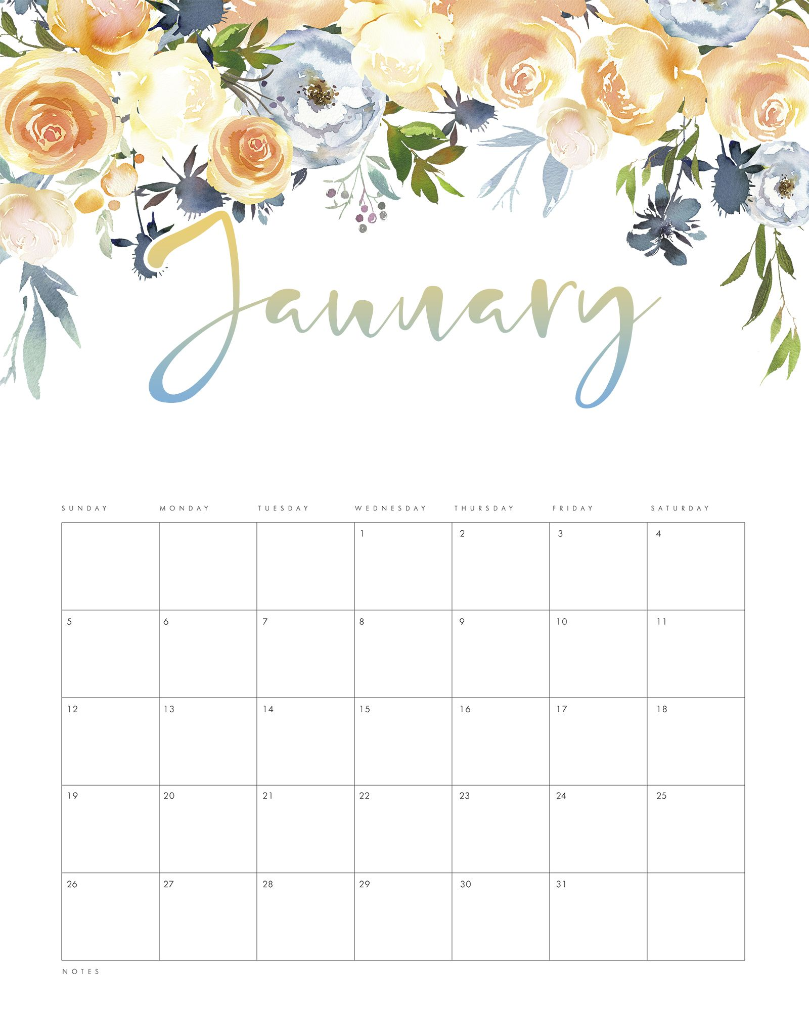 Free Printable 2020 Floral Drop Calendar Free printable