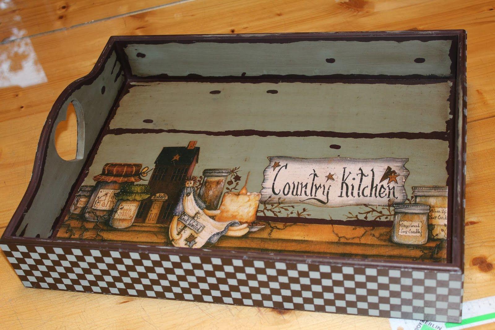 Country tepsi objetos de madera pintados en acrilico for Muebles alvero