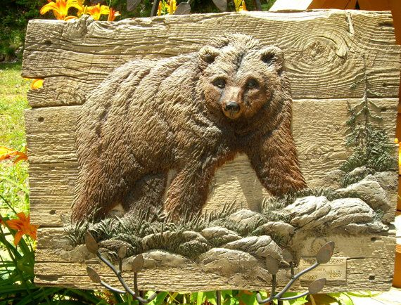 Grizzly bear relief sculpture limited edition artist signed george
