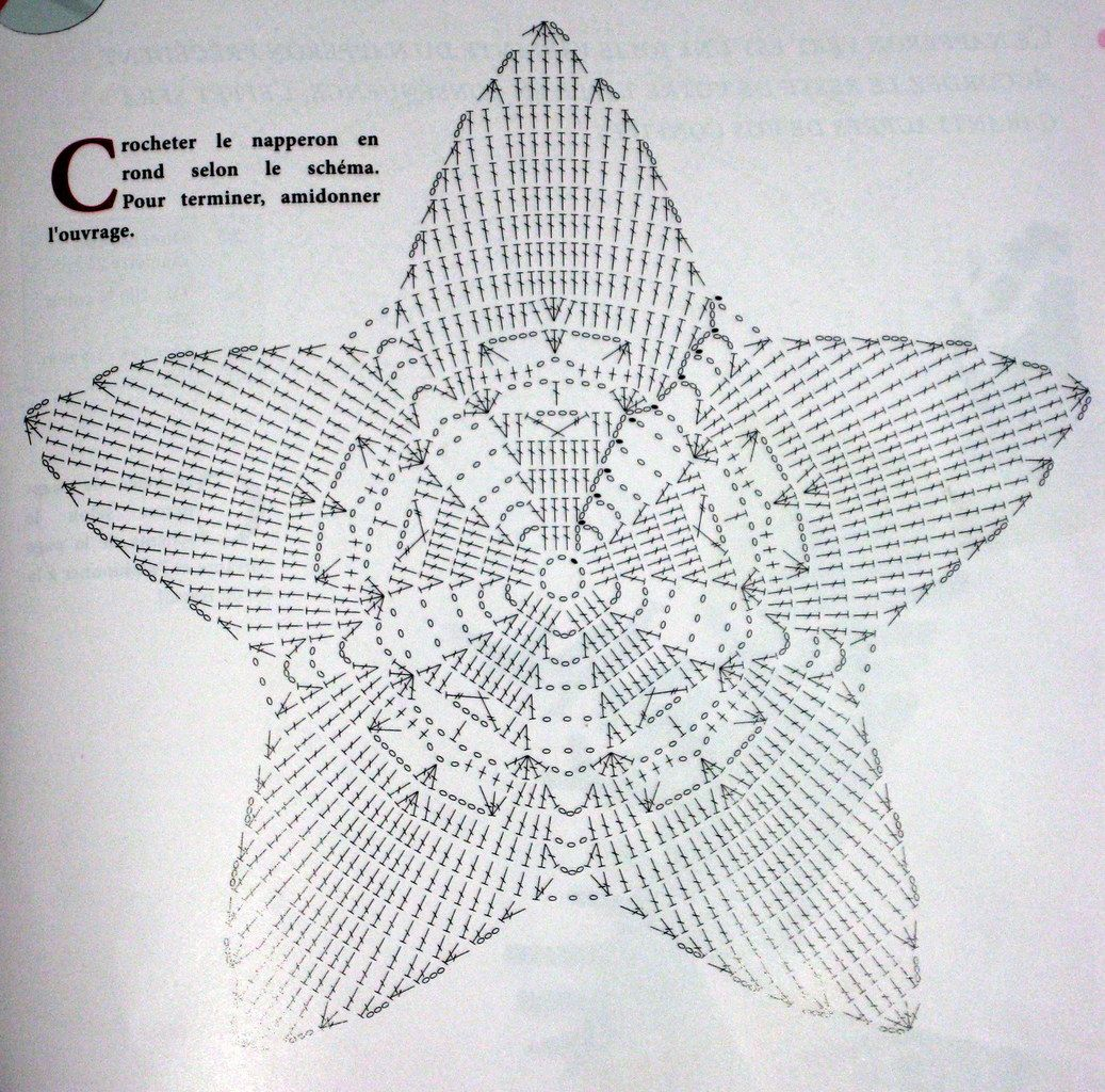 diagramme napperon étoile de noel, j\'ai ajouté un rg de mailles ...