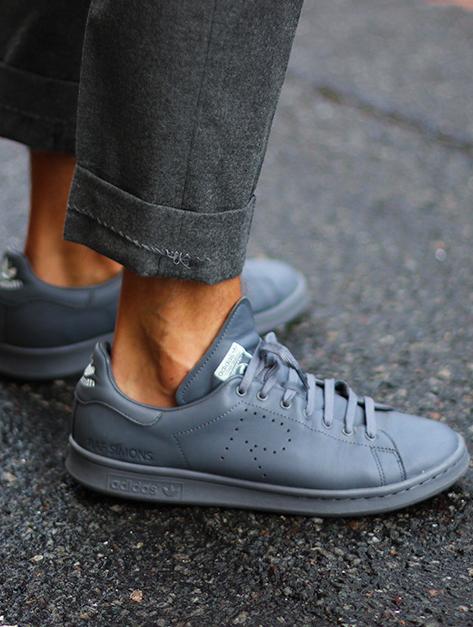 Raf Simons Adidas Stan Smith Grey Trainers Street Style Grey Trainers Raf Simons Adidas Mens Inspo