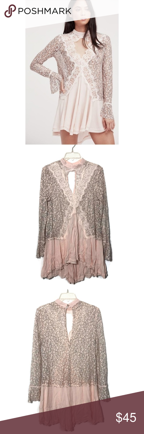 8679b92473d Free People Tell Tale Lace Pale Pink Tunic Dress Free People Womens Sz M  Tell Tale Pale Pink Lace Mock Neck Boho Tunic Dress FPM-111018-(10)-X In  great ...