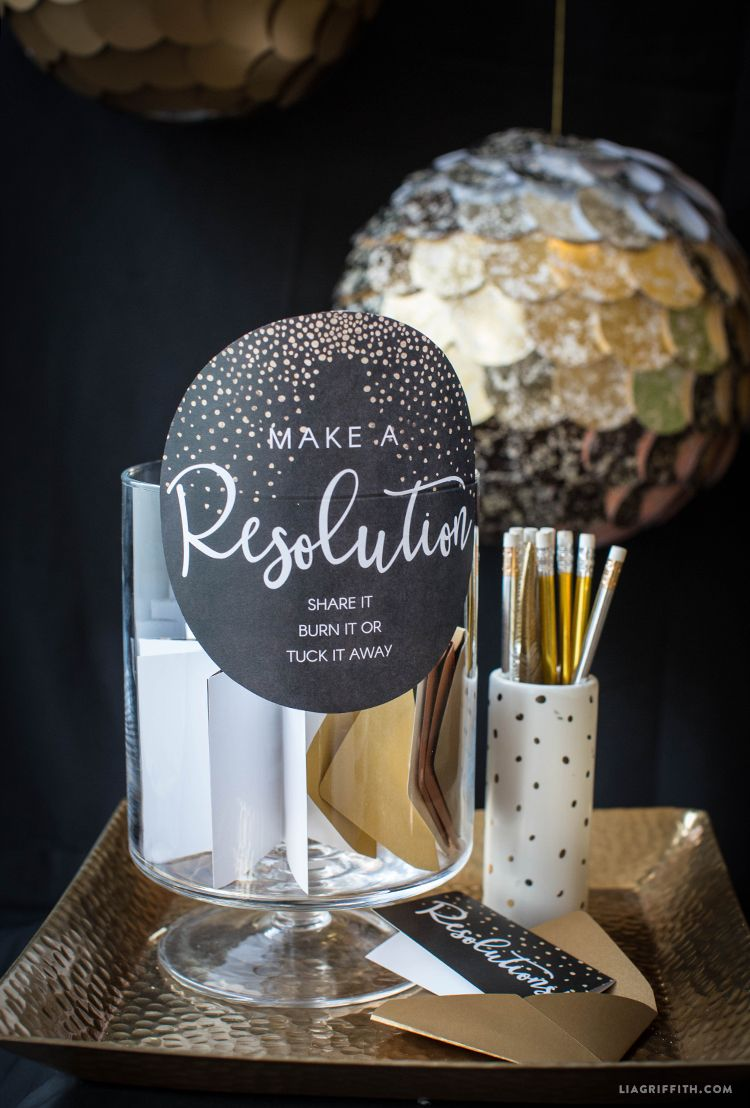 Printable New Year's Resolution Cards New year's eve