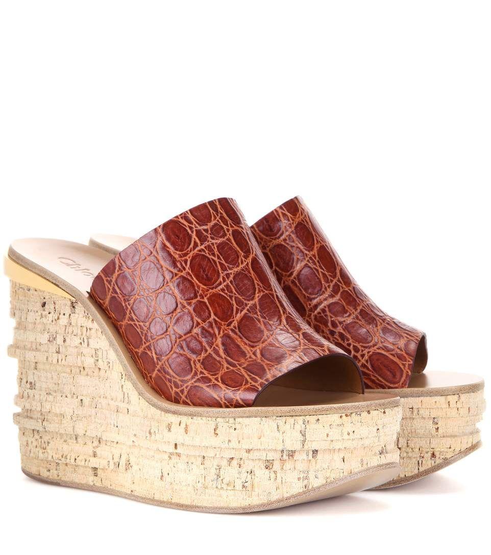 mytheresa.com - Mules compensées en cuir embossé Camille - Luxe et Mode  pour femme