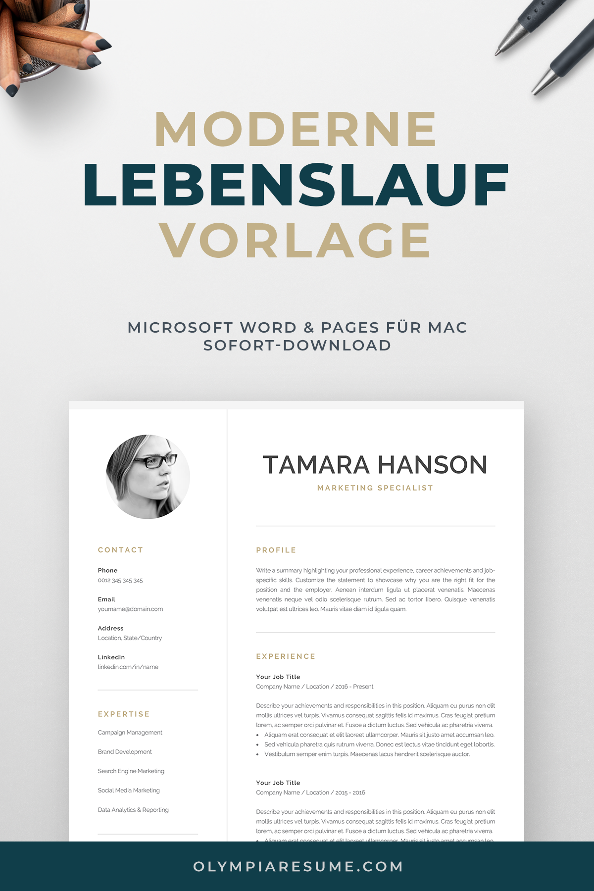 Modern Cv Template With Photo 1 2 Page Resume Etsy One Page Resume Template Modern Cv Template Resume Template Word