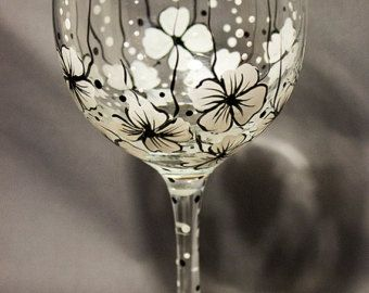 Hand Painted Wine Glasses Floral Wine Glasses by Brusheswithaview