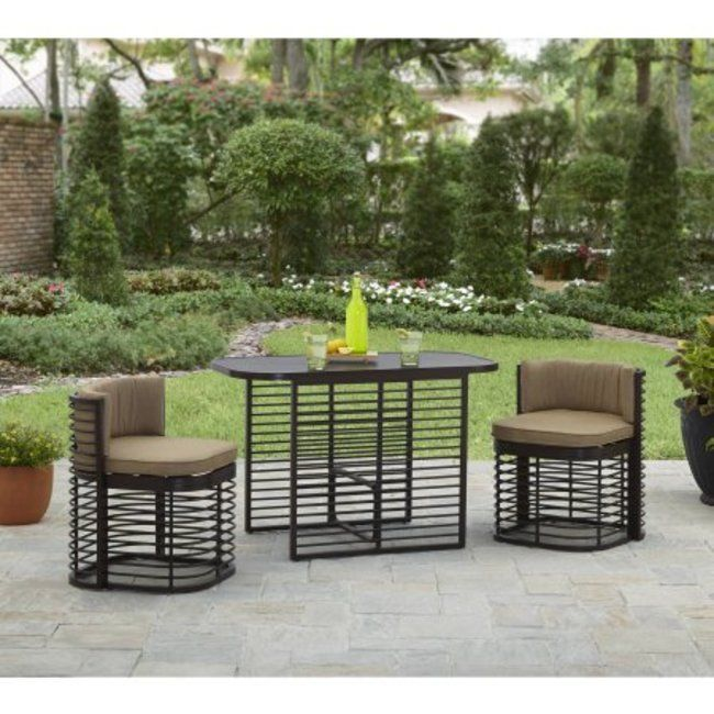 3 Piece Weather Resistant Patio Deck Garden Compact Bistro Set