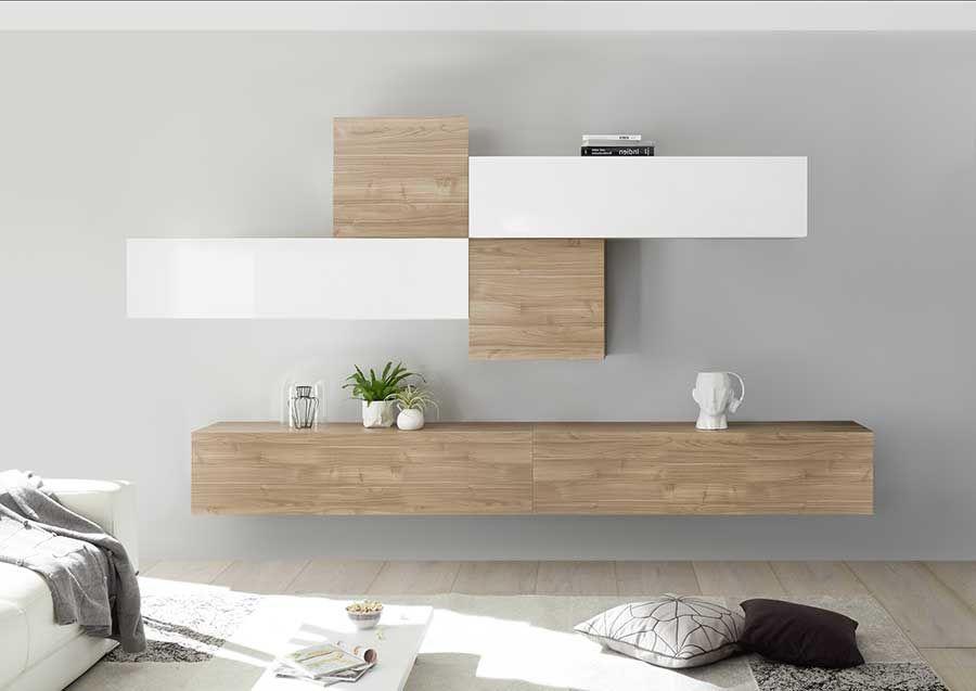 meuble suspendu blanc et bois
