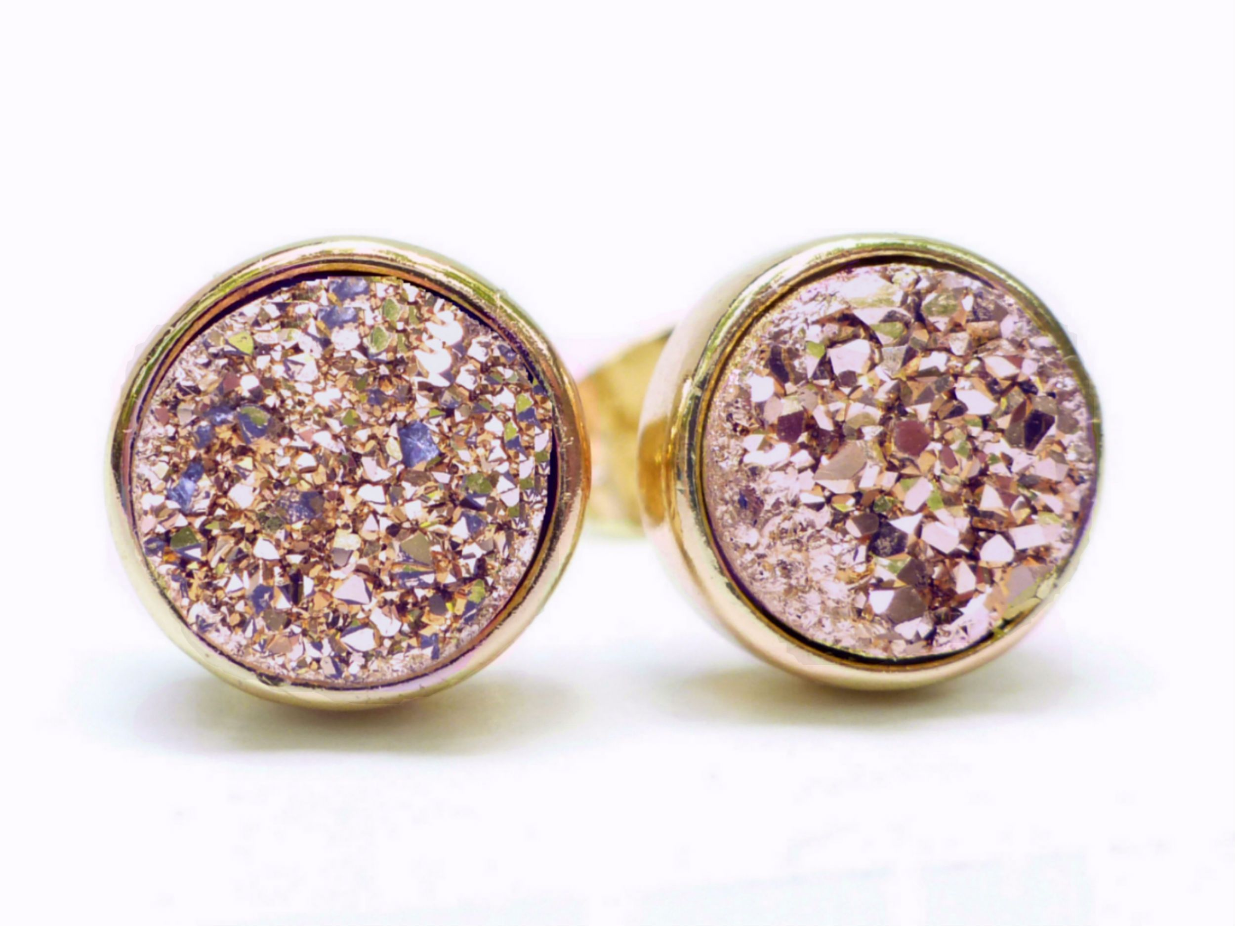 0fd8f93c1 Round Rose Gold Druzy Stud Earrings 8mm - Made With Dainty Sparkly Real  Gemstones