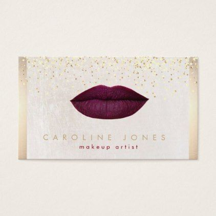 Burgundy lips and faux gold makeup artist business card artists burgundy lips and faux gold makeup artist business card artists unique special customize presents reheart Choice Image