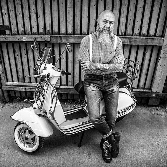 #mulpix #vespa #scooter #dr #Martins #docs #skinhead #braces #Fred #Perry #fred Perry #jeans #model #male #fashion #beard #moustache #menswear #sexy #style #fashion #mean #black #portrait #white